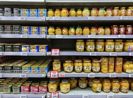 BEIJING - March 24: Canned food sale on  Supermarket.