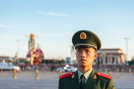 BEIJING-October 3: Armed police uniform on October 3, 2019 in Beijing, China. Chinese People's Armed Police uniform close-up.