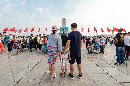 BEIJING-October 3: Celebrate the national day on October 3, 2019 in Beijing, China. People celebrating China National Day in Tiananmen Square. 写真素材 - 140144110