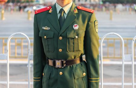 BEIJING-October 3: Armed police uniform on October 3, 2019 in Beijing, China. Chinese People's Armed Police uniform close-up. 写真素材 - 140144165