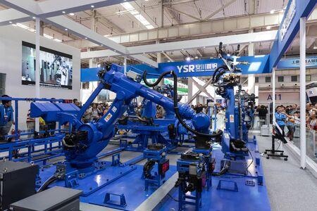 BEIJING-August 24: Industrial robot arm on August 24: 2019 in Beijing, China. Industrial robot arm.