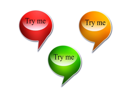 try: try me speech bubbles Stock Photo