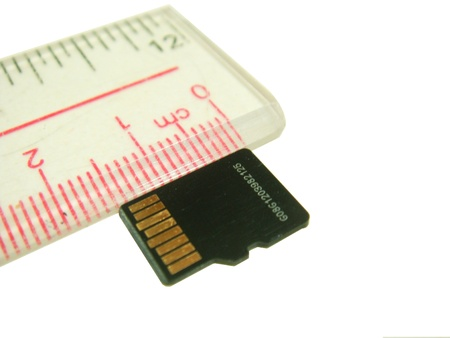 sd: the ruler show size of micro sd card