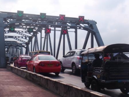 krung: Thailand,bangkok - january 25 ,2013 - Traffic of Krung Thon Bridge.