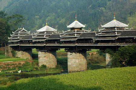 covered bridge: Chengyang wind-rain bridge Stock Photo