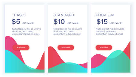 Minimal pricing table for web Vectores
