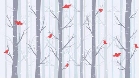Winter landscape. Winter Forest, Background in Flat Design