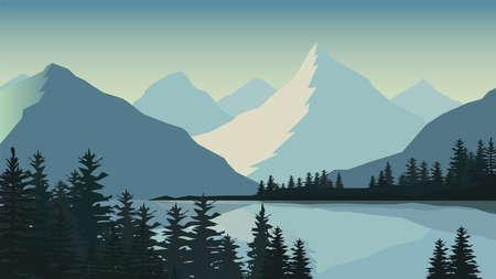 Mountain landscape illustration background.