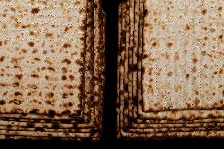 matzoh: Matsa close-up on a black background