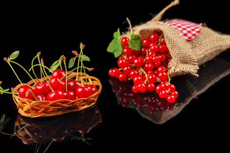 Fruits of cherry and red currant on a dark background