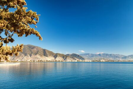 smooth: Gulf in the Mediterranean Sea. Mountain ranges in Kemer. Beautiful view of the beach Stock Photo