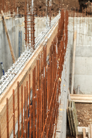 Construction of a new building, binding of reinforcement