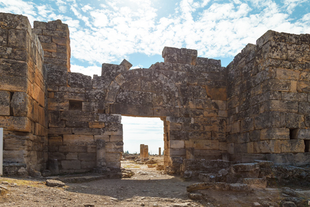 Ruins of the ancient city of Hierapolis. View of the old ruined stone buildings. Stock Photo