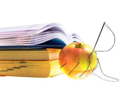 reestablishment: sewn with black thread apple
