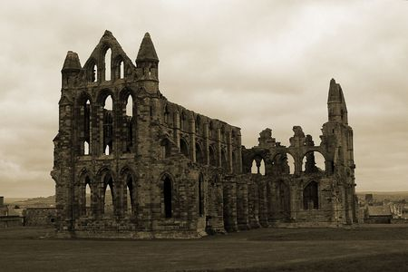 Whitby Abbey (of Dracula fame) and overlooking the rooftops of Whitby, Yorkshire, UK