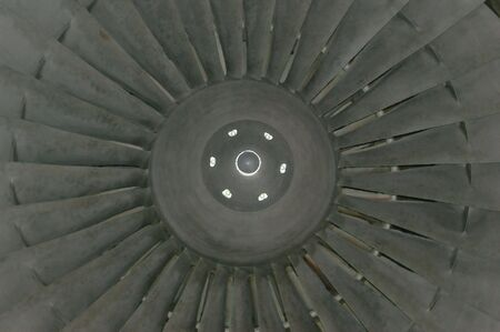 Digital Painting of the central cone and blades of a jet engine