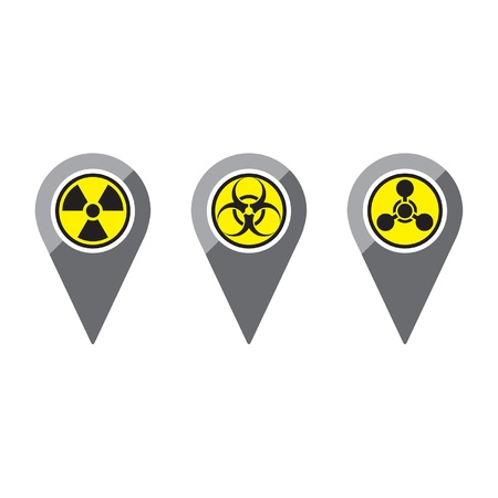 chemical hazard: Three simple, clean map pins in a flat or metro graphical style representing various warnings, from left to right  Radiation, Biohazard, and Chemical Warfare  Recommended usage  Label maps of where not to go on vacation