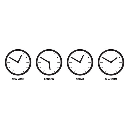 adjustable: 4 adjustable, simple, graphical world-clocks representing New York, London, Tokyo, and Shanghai  Recommend usage  Duplicate, re-name and adjust the clocks to their correct time  Illustration
