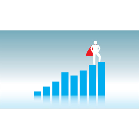 A pictogram superhero with a red cape stands triumphantly on top of a rising bar chart against a blue gradient background  일러스트