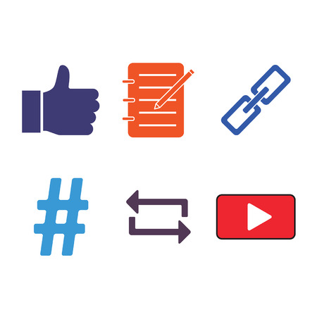6 Social media icons representing  1  Likes, 2  Blogs, 3  Links, 4  Hash Tags, 5  Sharing, and 6  Videos