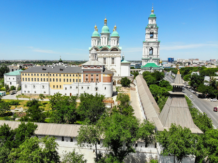 Astrakhan. Astrakhan Kremlin Fortress. Assumption Cathedral and the bell tower of the Astrakhan Kremlin. Flying drone over the Kremlin. Panorama of the city of Astrakhan. park for rest and walks. The central embankment of the city. A cruise ship. The brid