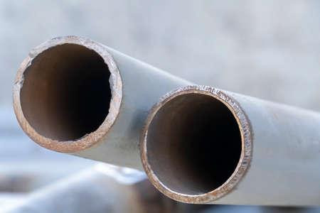 New steel pipeline DN 50, prepared for manual arc welding, for an oil refinery in Russia. Welding steel Reklamní fotografie