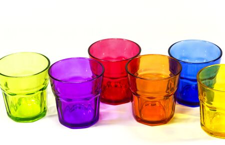 colorful glass isolated on white background Stock Photo