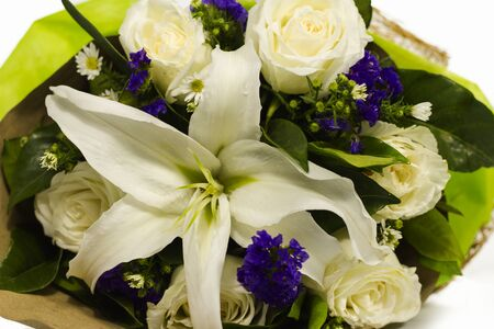 white lilly: beautiful bouquet of white Lilly, white rose and purple statice