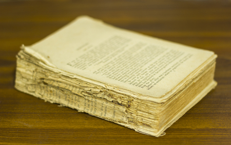 very: ancient book, very old book, close up Stock Photo