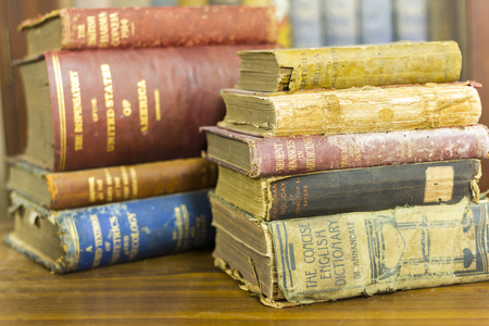 ancient books: pile of ancient books, very old books Stock Photo