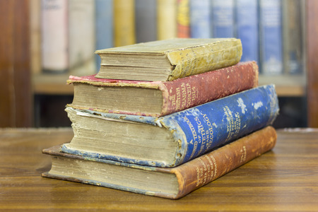 very: pile of ancient books, very old books Stock Photo