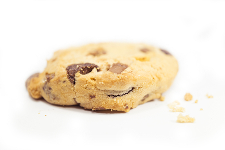 bitten: bitten chocolate chip cookie isolate on white background Stock Photo