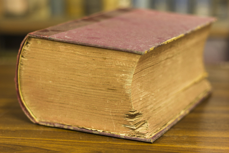 antique books: ancient book, very old book, close up Stock Photo