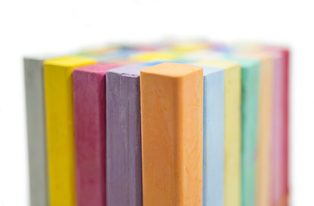 stack of variety colors of chalk pastel, close up