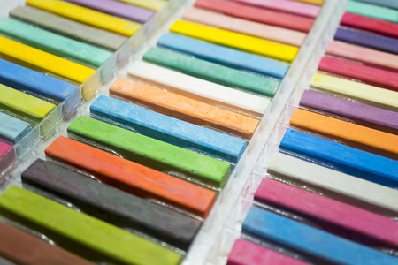 variety colors of chalk pastel, close up