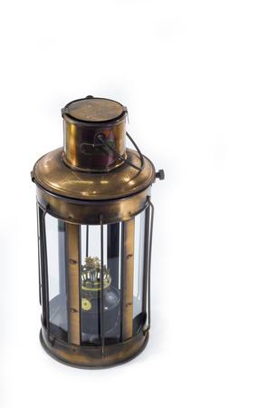 vintage style kerosene lamp, lantern on a white background