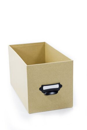 brown storage box isolated on white background