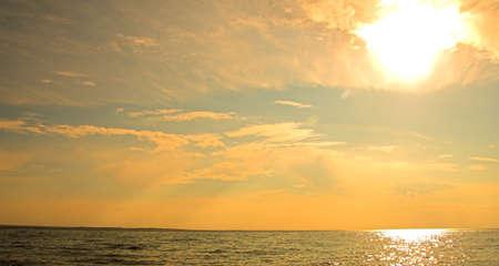 Orange and blue sunset. Banco de Imagens