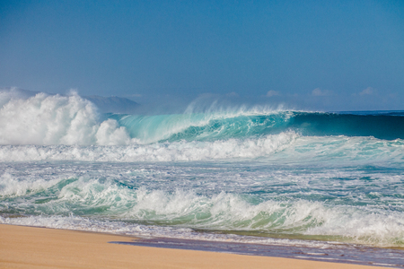 ocean and sea: The world famous Bonzai Pipeline surf wave on the North Shore, Oahu, Hawaii Stock Photo