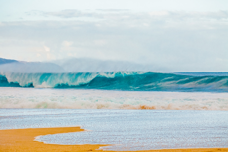 north shore: The world famous Bonzai Pipeline surf wave on the North Shore, Oahu, Hawaii Stock Photo