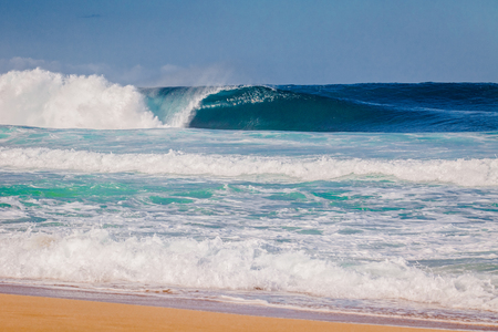 sea wave: The world famous Bonzai Pipeline surf wave on the North Shore, Oahu, Hawaii Stock Photo