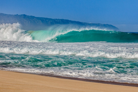 pipeline: The world famous Bonzai Pipeline surf wave on the North Shore, Oahu, Hawaii Stock Photo