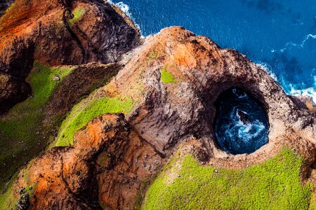 Beautiful Helicopter views of the Na Pali Coast in Kauai Stok Fotoğraf