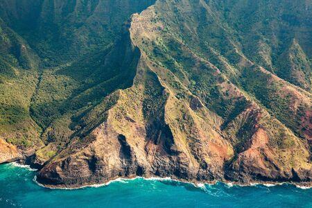 Beautiful Helicopter views of the Na Pali Coast in Kauai Stok Fotoğraf