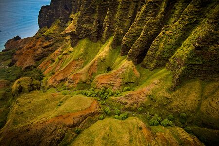Helicopter views of the Na Pali Coast in Kauai Banco de Imagens