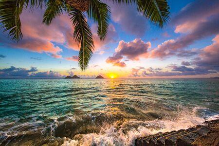 Beautiful sunrise in Kailua at Lanikai Beach Reklamní fotografie - 128060429
