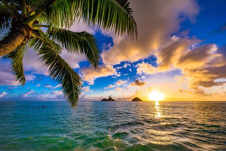 Beautiful sunrise in Kailua at Lanikai Beach