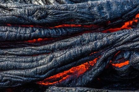 La lave coule sur la grande île d'Hawaï Banque d'images