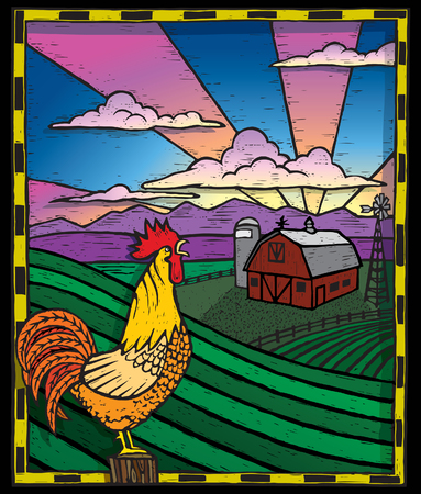 Rooster on a Farm Vector