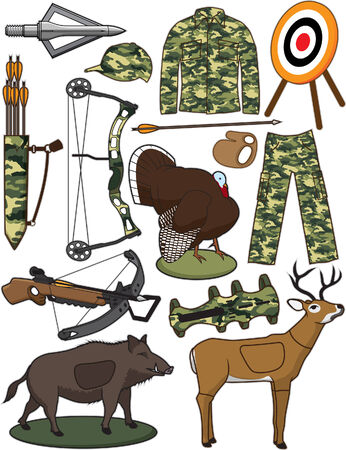 wildlife shooting: Archery Items Illustration